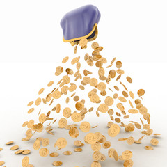Gold dollar is falling out of the purse. 3d render illustration
