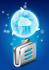 folder cloud storage server (earth and folder)