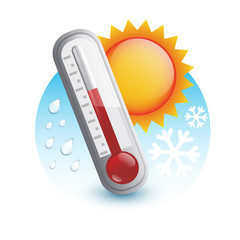 thermometer with sun,  snow and rain (weather)