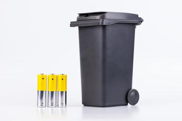 Raw of AA alkaline batteries