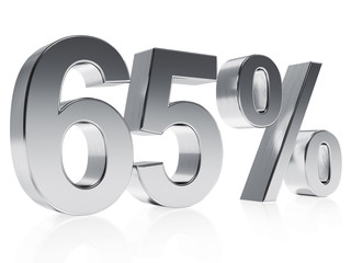 Realistic silver rendering of a symbol for 65 % discount or gain