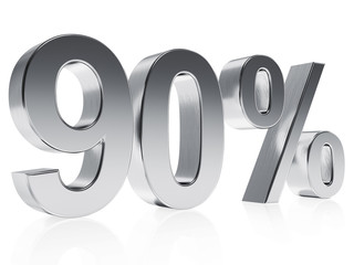 Realistic silver rendering of a symbol for 90 % discount or gain