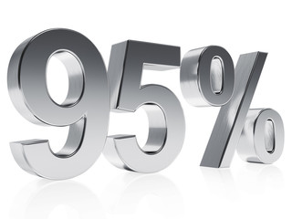 Realistic silver rendering of a symbol for 95 % discount or gain