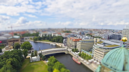 Aerial skyline view of Berlin city, Germany (Tilt-shift effect)