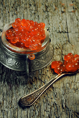 red caviar vintage retro old soft selective focus