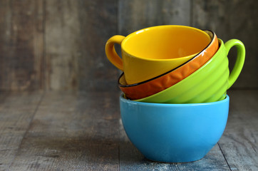 Multicolored ceramic bowl.