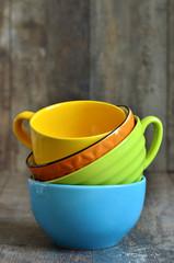 Multicolored ceramic bowl.