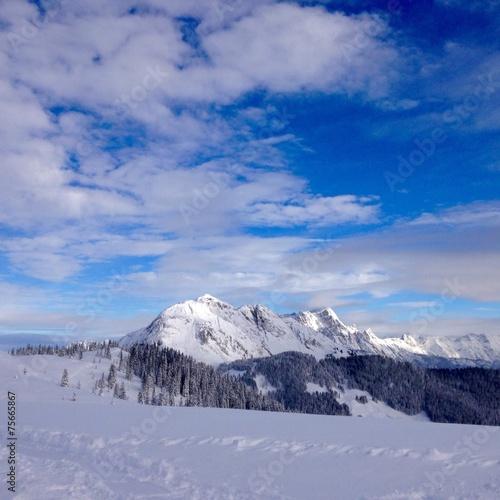 canvas print picture landschaft im winter in den bergen