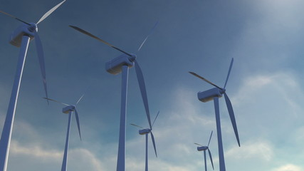 Animation of windmills with sky background