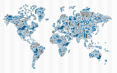 Stock exchange finance world map concept