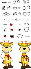giraffe funny cartoon expressions set pack03
