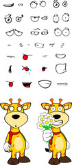 giraffe funny cartoon expressions set pack7