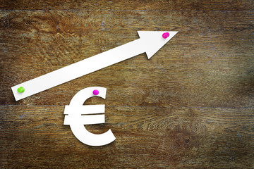 Concept of euro exchange rate growth