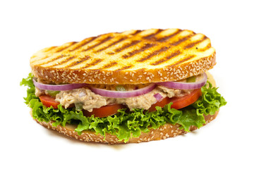 Grilled Tuna Panini Sandwich on a plate. Selective focus.