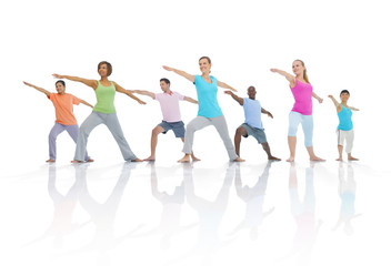 Group Healthy People Fitness Togetherness Exercise Concept