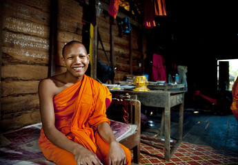 Smiling Monk Traditional Religious Happiness Concept