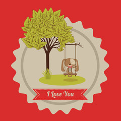 Love design over red background vector illustration