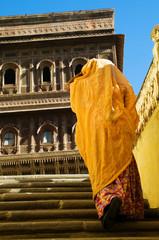 Hindu Lady Mehrangarh Fort Walking Alone Concept