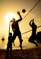 Beach Volleyball Sunset Team Team Play Concept