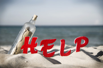 Message Bottle Beach Sea Help Ocean Concept