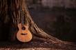 Leinwanddruck Bild - Wooden Acoustic Guitar
