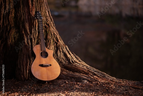 Foto op Canvas Muziekwinkel Wooden Acoustic Guitar