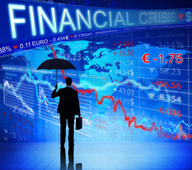 Businessman on Fianacial Crisis Information Chart Concept