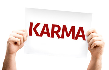 Karma card isolated on white background