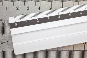 Stainless steel ruler close - up for education concept