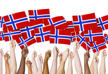 Norwegian Flag Hands Holding Unity Togetherness Concept