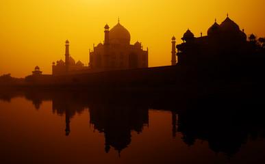 Sunset Silhouette Grand Taj Mahal Concept