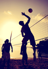 Beach Volleyball Sunset Team Team Play Concept