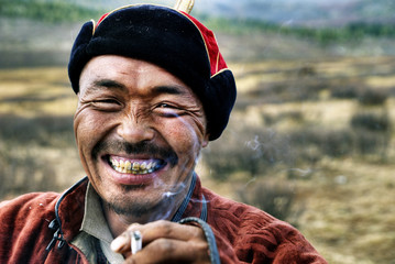Mongolian Man Smoking