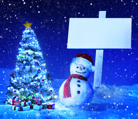 Christmas Holiday Copy Space Winter Snowman Concept