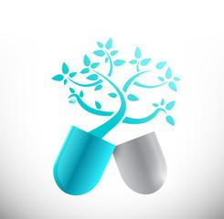 blue medical tree pill illustration design