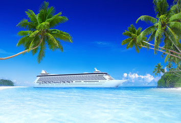 Cruise and beach with palm tree