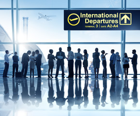 Group People Airport International Departures Concept
