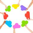 Hands Holding Multi Colored Cloud Shaped Speech Bubbles Concept