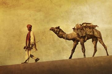 Indigenous Indian Man Desert Camel Concept