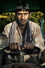 Portrait Rajasthani Indian Man Morning Clam Concept