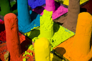 Colorful Pigments in an Indian Market