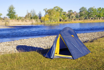 Camping Beautiful River Tent Relaxation Concept