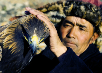 Mongolian Man Traditional Lifestyles Falconry Concept