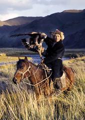 Kazakh on Horse With Eagle