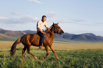 Young Man Riding Horse Scenic View Nature Concept