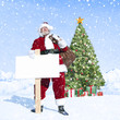 Santa Claus Christmas Tree Winter Vacation Concept