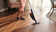 canvas print picture - Mop for cleaning wooden floor from dust