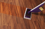 Modern mop for cleaning wooden floor from dust