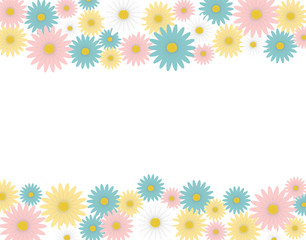 A flower frame made with colorful daisies