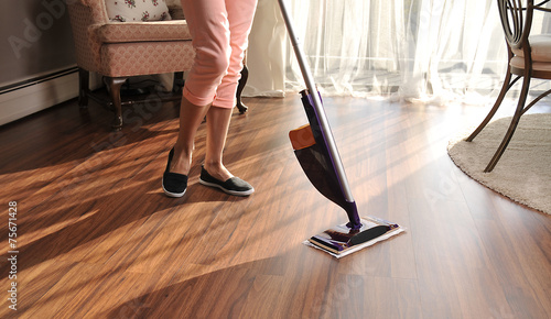 Mop for cleaning wooden floor from dust - 75671428